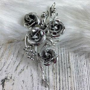 Vintage Coro Rose Vine Flower Brooch